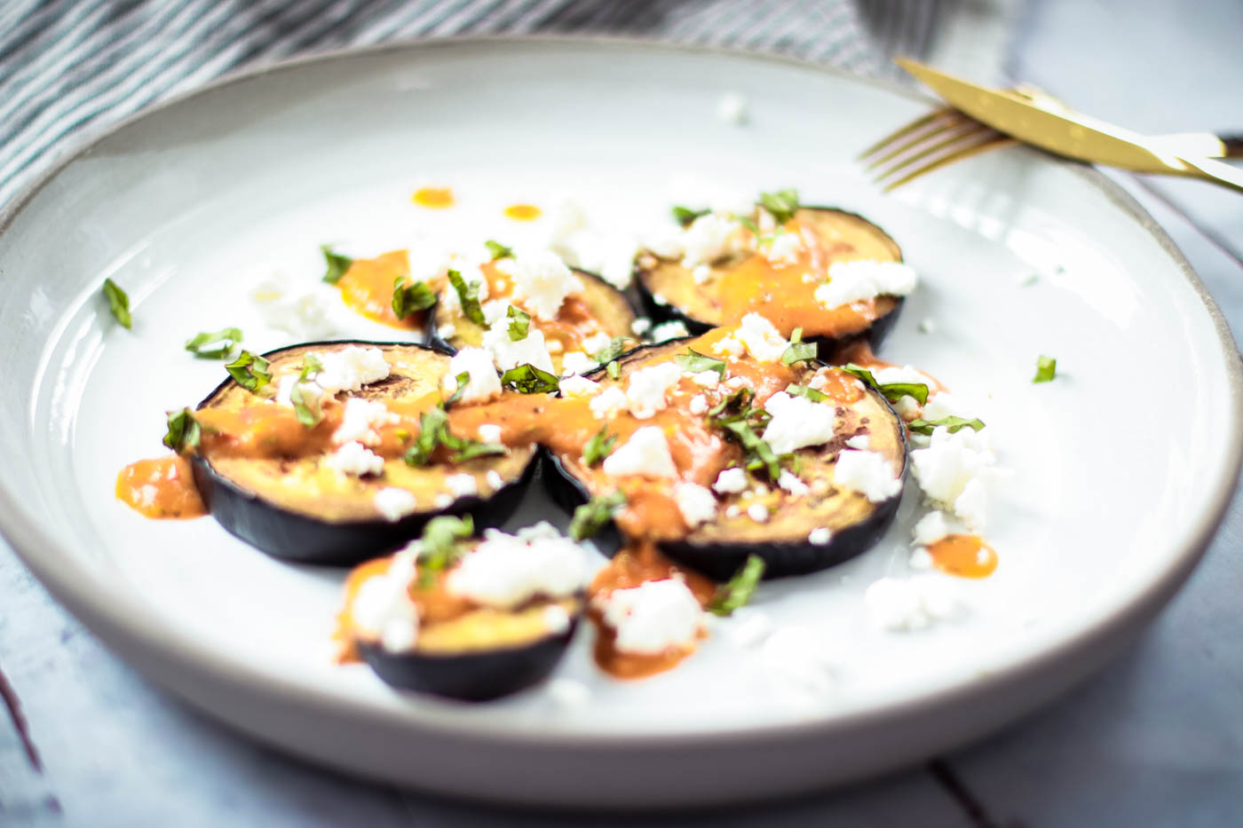 Easy Summer Lunch: Grilled Eggplant with Tomato Sauce, Basil and Feta Cheese