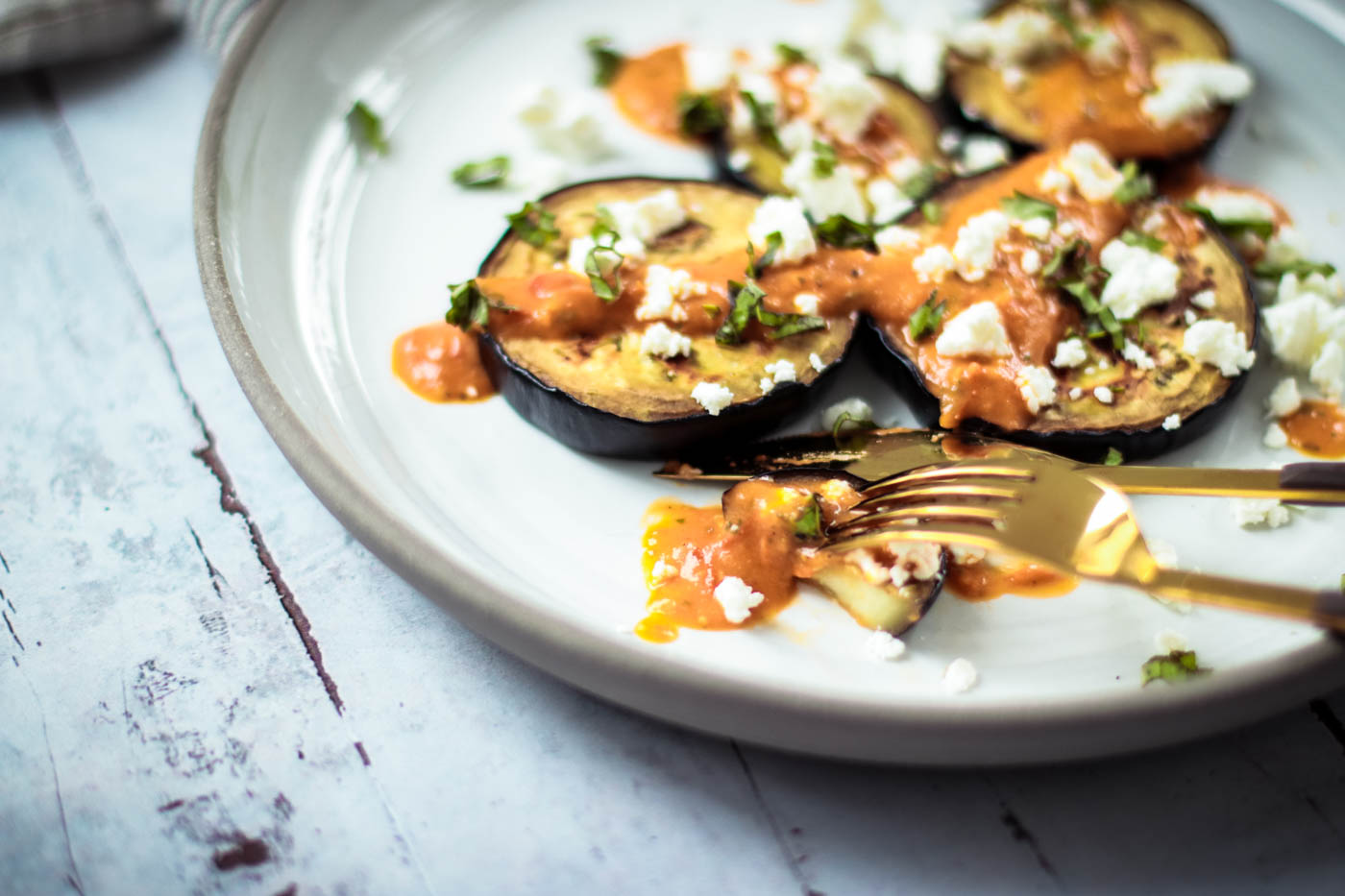 Easy Summer Lunch Grilled Eggplant with Tomato Sauce, Basil and Feta Cheese