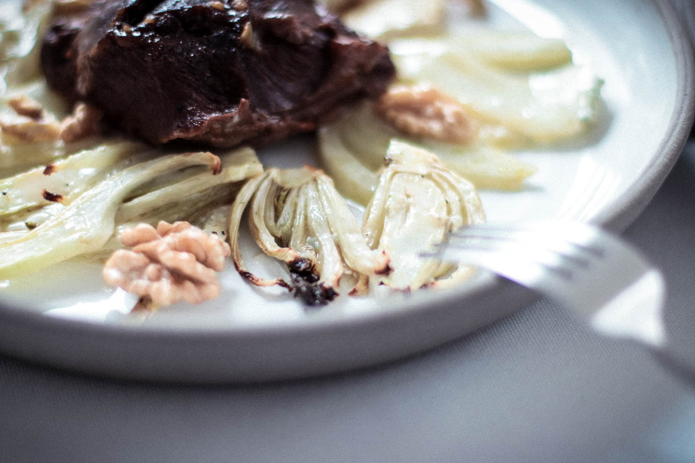 Braised Veal Cheeks with Baked Fennel and Gorgonzola